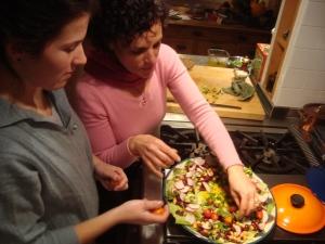 Ali & Mummy making salad